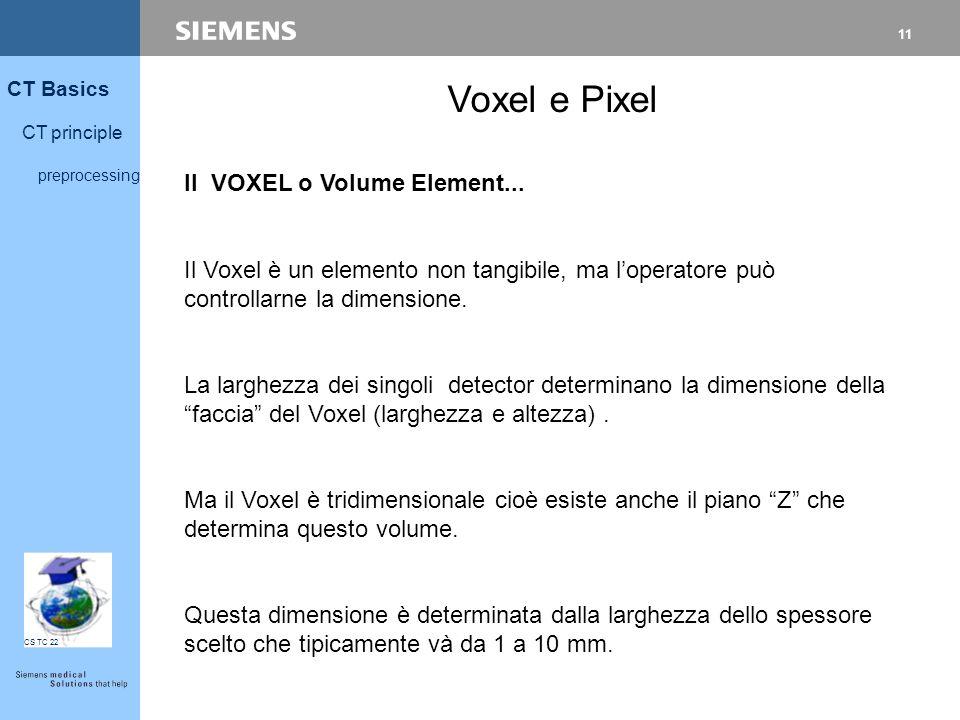 11 CT Basics CT principle preprocessing CS TC 22 Voxel e Pixel Il VOXEL o Volume Element... Il Voxel è un elemento non tangibile, ma l'operatore può c