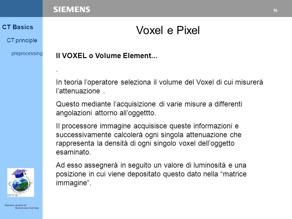 16 CT Basics CT principle preprocessing CS TC 22 Voxel e Pixel Il VOXEL o Volume Element.... In teoria l'operatore seleziona il volume del Voxel di cu