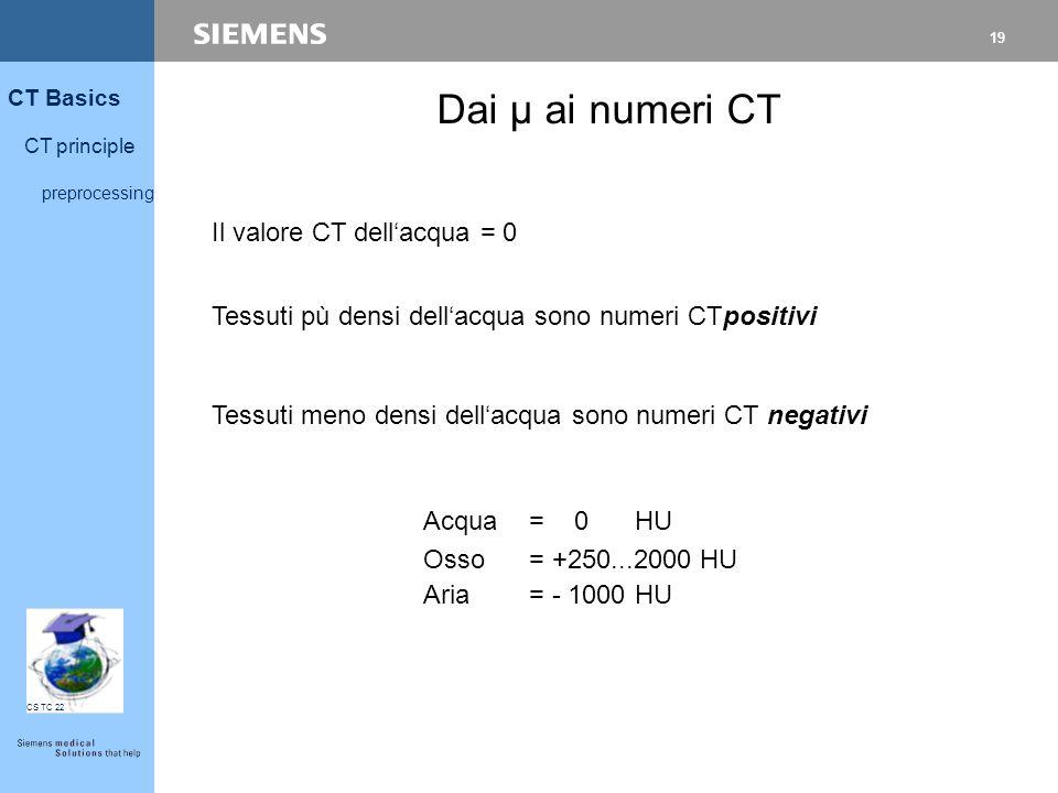 19 CT Basics CT principle preprocessing CS TC 22 Il valore CT dell'acqua = 0 Dai µ ai numeri CT Tessuti pù densi dell'acqua sono numeri CTpositivi Tes