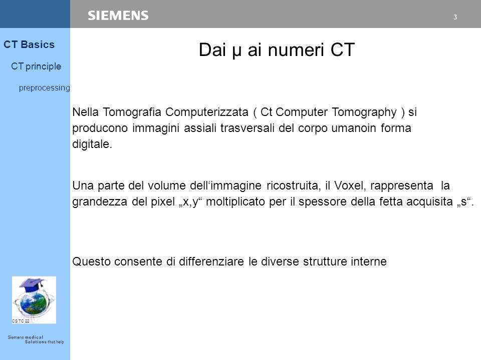 3 CT Basics CT principle preprocessing CS TC 22 Dai µ ai numeri CT Nella Tomografia Computerizzata ( Ct Computer Tomography ) si producono immagini assiali trasversali del corpo umanoin forma digitale.