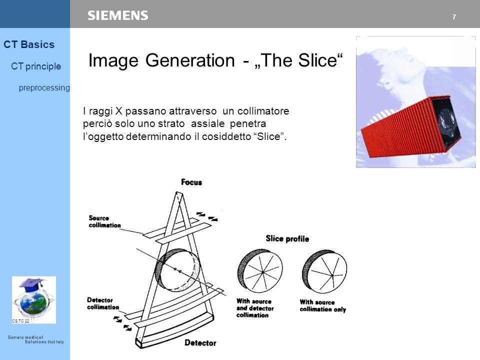 """7 CT Basics CT principle preprocessing CS TC 22 Image Generation - """"The Slice"""" I raggi X passano attraverso un collimatore perciò solo uno strato assi"""