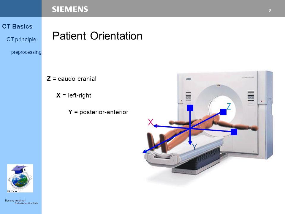 9 CT Basics CT principle preprocessing CS TC 22 Patient Orientation Z = caudo-cranial X = left-right Y = posterior-anterior