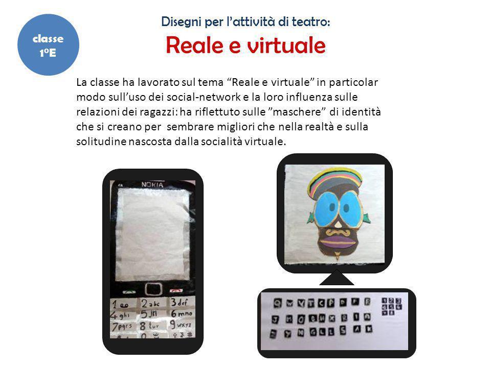 """Disegni per l'attività di teatro: Reale e virtuale La classe ha lavorato sul tema """"Reale e virtuale"""" in particolar modo sull'uso dei social-network e"""