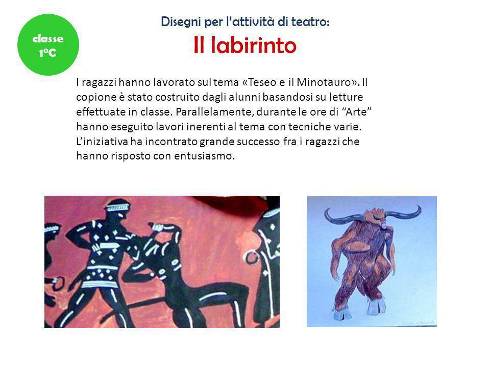 Disegni per l'attività di teatro: Il labirinto I ragazzi hanno lavorato sul tema «Teseo e il Minotauro». Il copione è stato costruito dagli alunni bas
