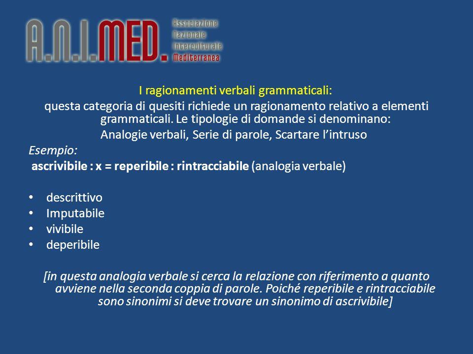 I ragionamenti verbali grammaticali: questa categoria di quesiti richiede un ragionamento relativo a elementi grammaticali. Le tipologie di domande si