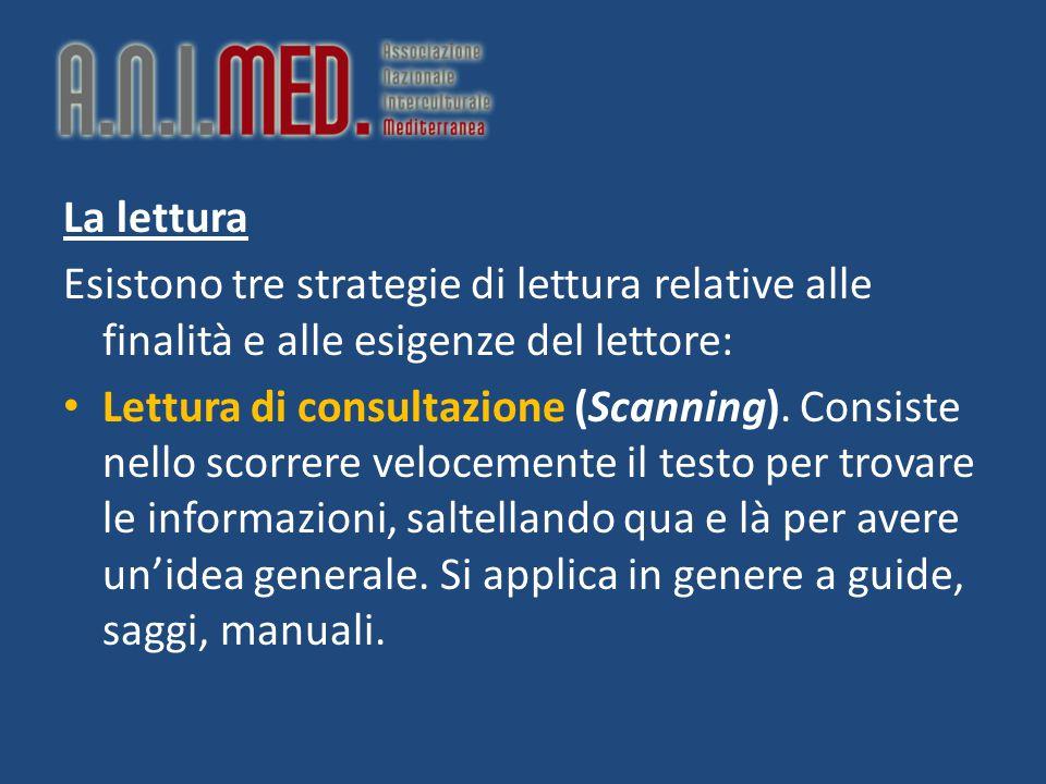 La lettura Esistono tre strategie di lettura relative alle finalità e alle esigenze del lettore: Lettura di consultazione (Scanning). Consiste nello s