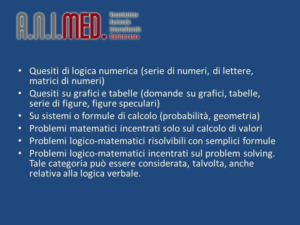 Quesiti di logica numerica (serie di numeri, di lettere, matrici di numeri) Quesiti su grafici e tabelle (domande su grafici, tabelle, serie di figure