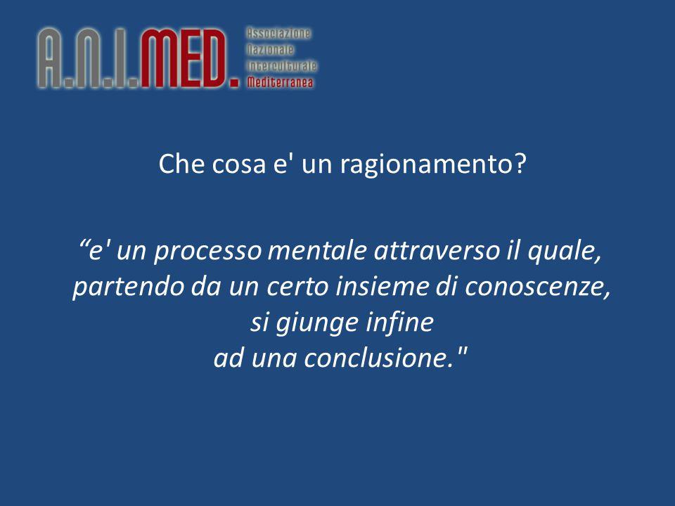 """Che cosa e' un ragionamento? """"e' un processo mentale attraverso il quale, partendo da un certo insieme di conoscenze, si giunge infine ad una conclusi"""