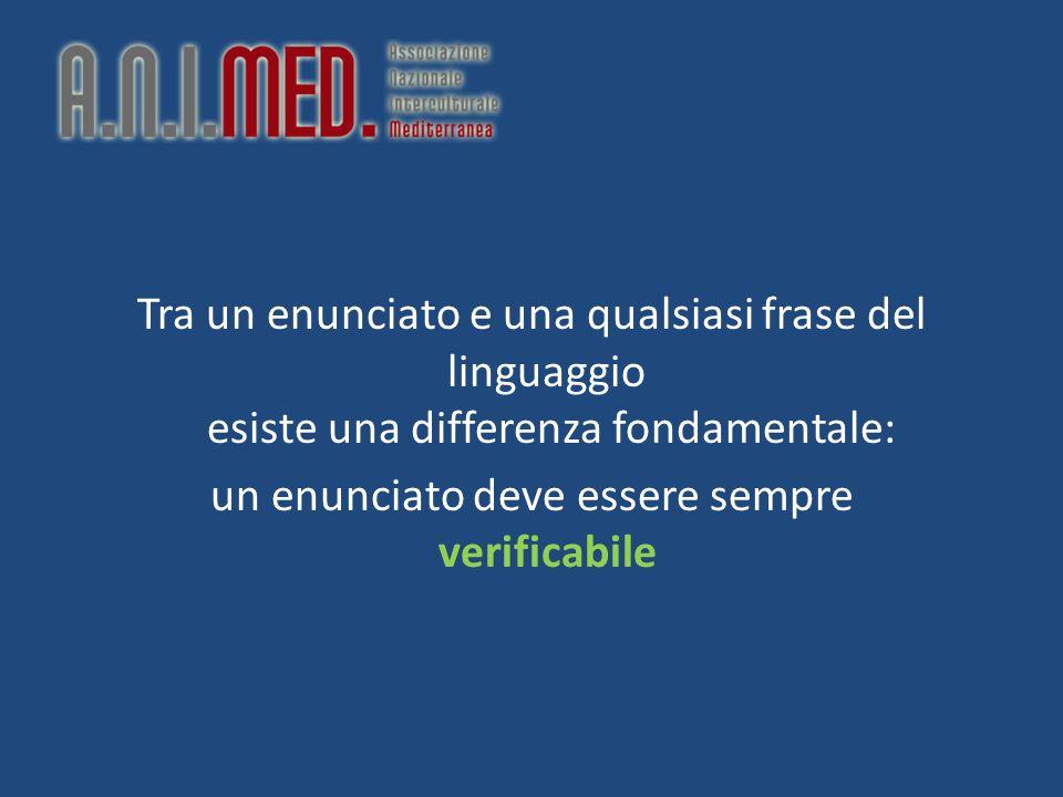 Tra un enunciato e una qualsiasi frase del linguaggio esiste una differenza fondamentale: un enunciato deve essere sempre verificabile