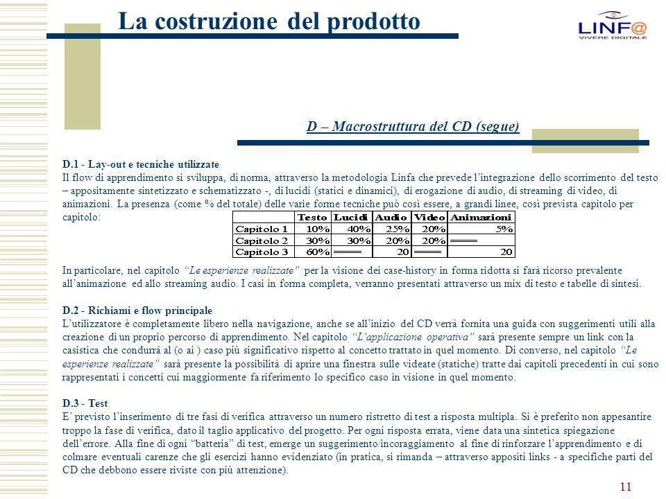 11 La costruzione del prodotto D.1 - Lay-out e tecniche utilizzate Il flow di apprendimento si sviluppa, di norma, attraverso la metodologia Linfa che