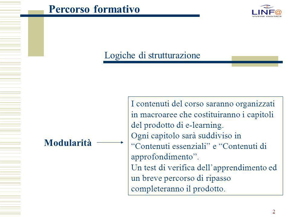 2 Logiche di strutturazione Modularità I contenuti del corso saranno organizzati in macroaree che costituiranno i capitoli del prodotto di e-learning.