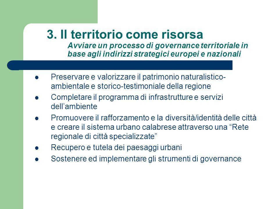 3. Il territorio come risorsa Avviare un processo di governance territoriale in base agli indirizzi strategici europei e nazionali Preservare e valori