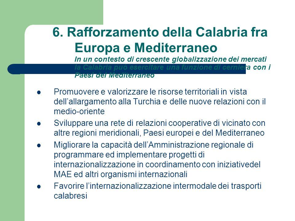 6. Rafforzamento della Calabria fra Europa e Mediterraneo In un contesto di crescente globalizzazione dei mercati la Calabria può esercitare una funzi