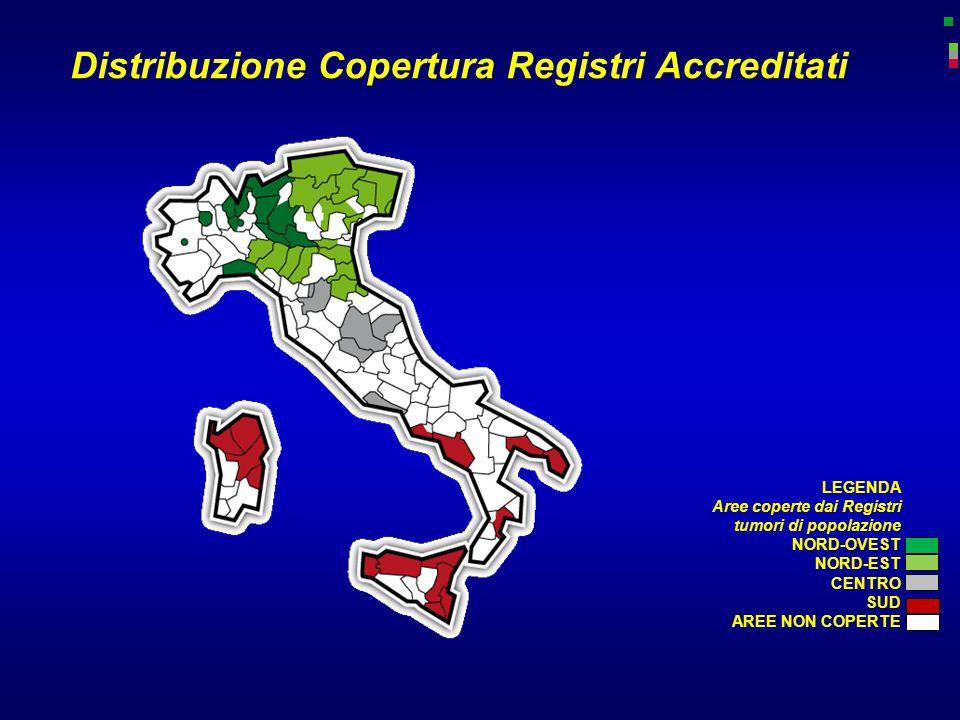 Distribuzione Copertura Registri Accreditati LEGENDA Aree coperte dai Registri tumori di popolazione NORD-OVEST NORD-EST CENTRO SUD AREE NON COPERTE