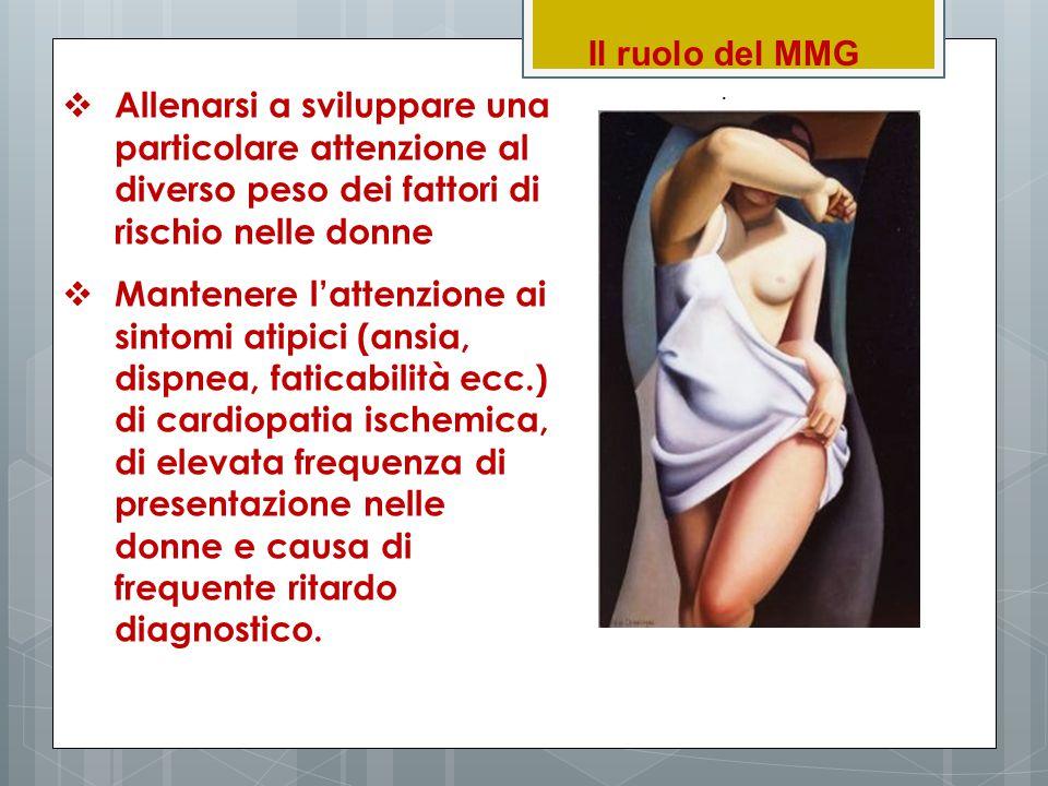 Il ruolo del MMG.  Allenarsi a sviluppare una particolare attenzione al diverso peso dei fattori di rischio nelle donne  Mantenere l'attenzione ai s