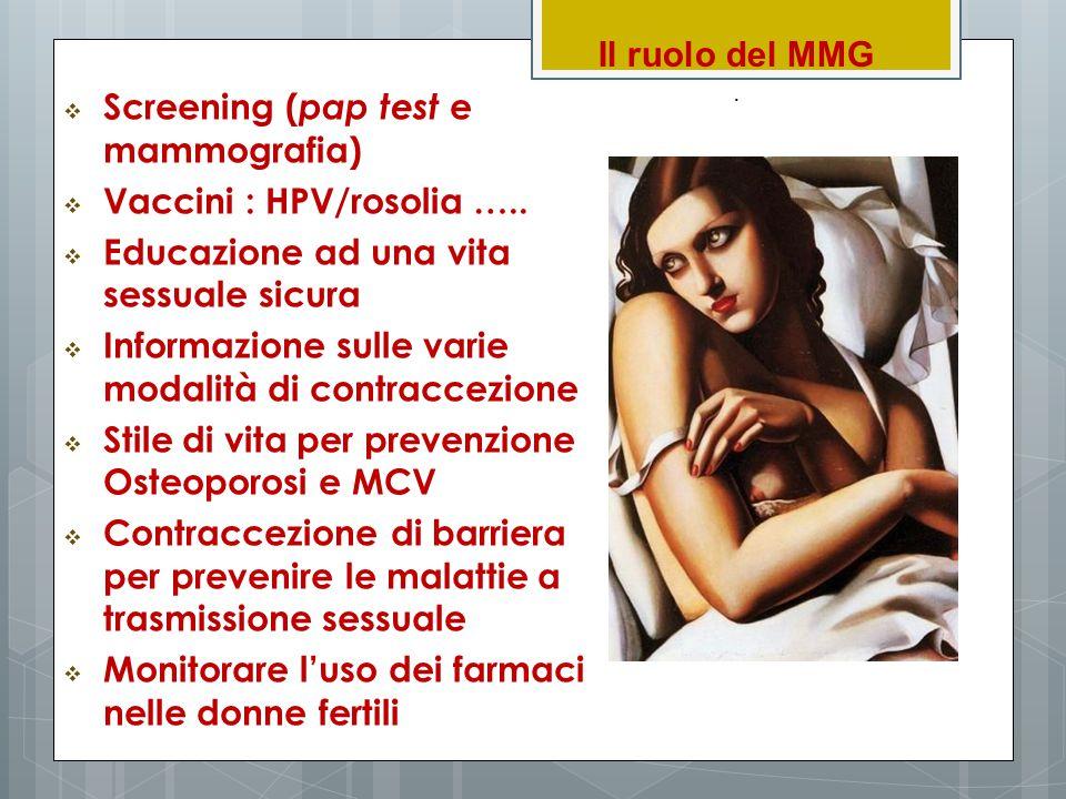 Il ruolo del MMG.  Screening ( pap test e mammografia)  Vaccini : HPV/rosolia …..  Educazione ad una vita sessuale sicura  Informazione sulle vari