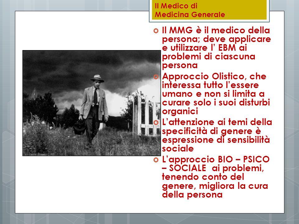 Il Medico di Medicina Generale  Il MMG è il medico della persona; deve applicare e utilizzare l' EBM ai problemi di ciascuna persona  Approccio Olis