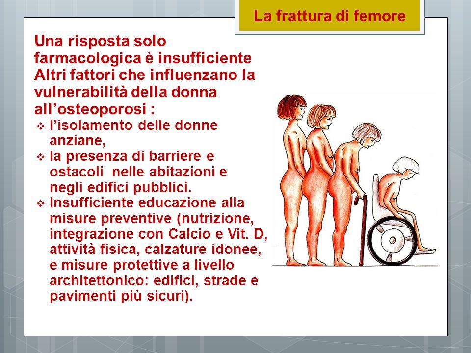 La frattura di femore Una risposta solo farmacologica è insufficiente Altri fattori che influenzano la vulnerabilità della donna all'osteoporosi :  l