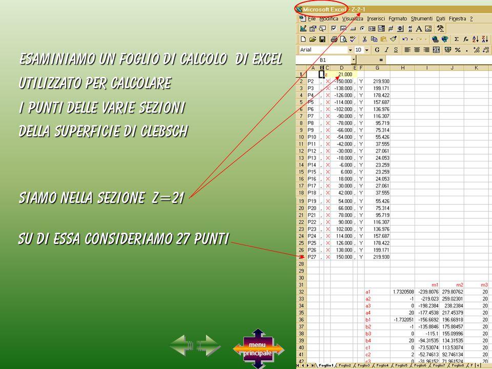 utilizzato per calcolare esaminiamo un foglio di calcolo di excel Su di essa consideriamo 27 punti siamo nella sezione Z=21 i punti delle varie sezioni della superficie di clebsch menu principale menu principale