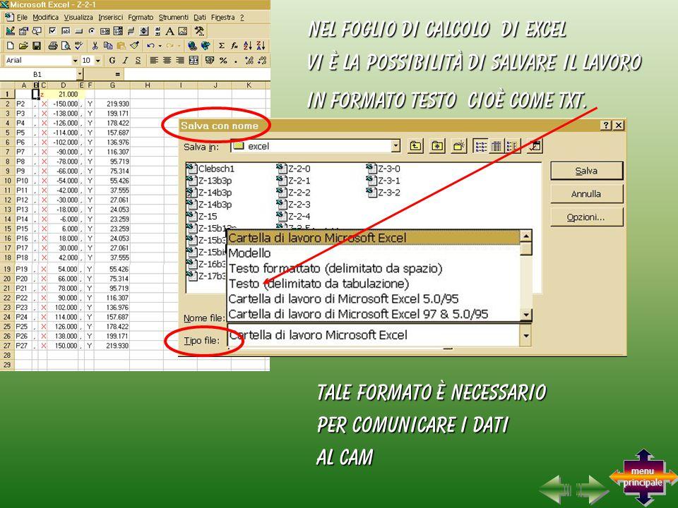 tale formato è necessario per comunicare i dati al CAM vi è la possibilità di salvare il lavoro nel foglio di calcolo di excel in formato testo cioè come txt.
