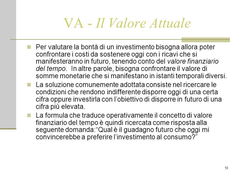 10 VA - Il Valore Attuale Per valutare la bontà di un investimento bisogna allora poter confrontare i costi da sostenere oggi con i ricavi che si manifesteranno in futuro, tenendo conto del valore finanziario del tempo.