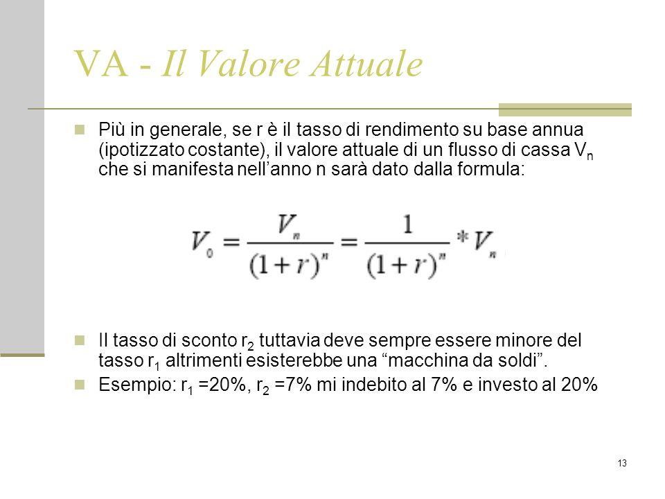 13 VA - Il Valore Attuale Più in generale, se r è il tasso di rendimento su base annua (ipotizzato costante), il valore attuale di un flusso di cassa