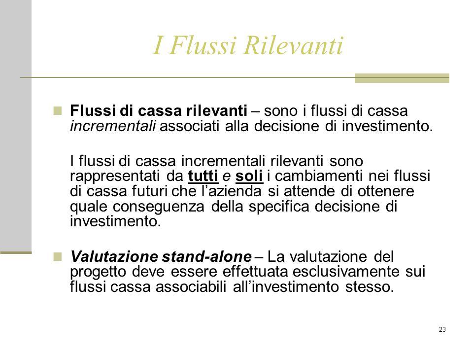 23 I Flussi Rilevanti Flussi di cassa rilevanti – sono i flussi di cassa incrementali associati alla decisione di investimento. I flussi di cassa incr