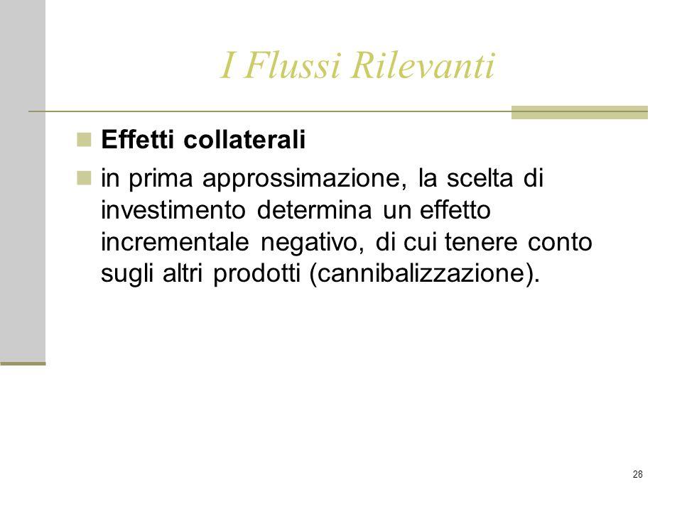 28 I Flussi Rilevanti Effetti collaterali in prima approssimazione, la scelta di investimento determina un effetto incrementale negativo, di cui tener