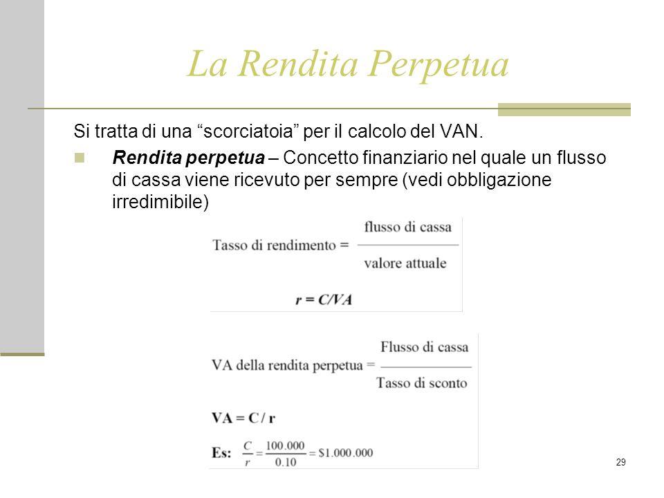 """29 La Rendita Perpetua Si tratta di una """"scorciatoia"""" per il calcolo del VAN. Rendita perpetua – Concetto finanziario nel quale un flusso di cassa vie"""
