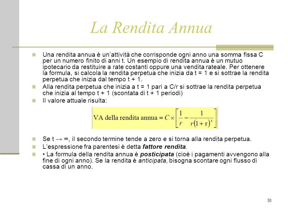 30 La Rendita Annua Una rendita annua è un'attività che corrisponde ogni anno una somma fissa C per un numero finito di anni t. Un esempio di rendita