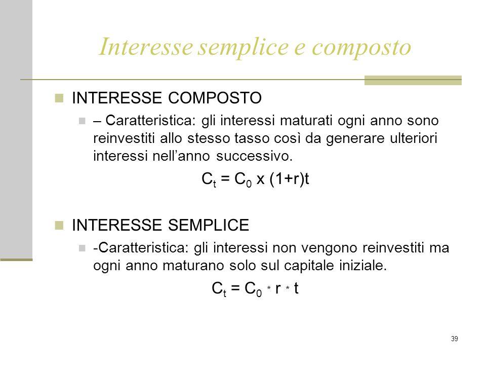 39 Interesse semplice e composto INTERESSE COMPOSTO – Caratteristica: gli interessi maturati ogni anno sono reinvestiti allo stesso tasso così da generare ulteriori interessi nell'anno successivo.