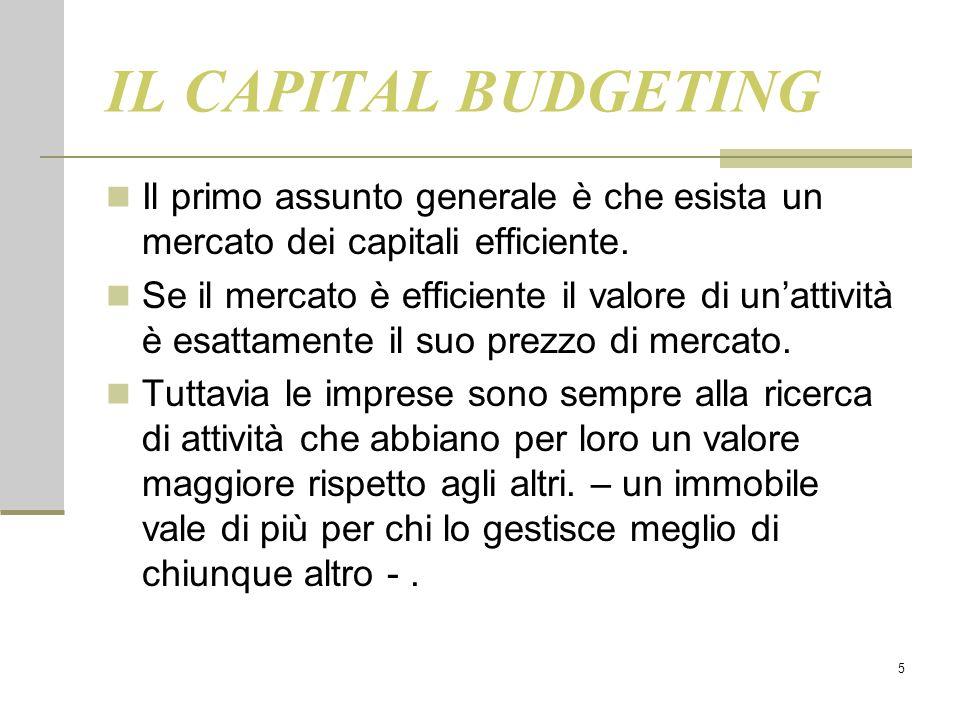 5 IL CAPITAL BUDGETING Il primo assunto generale è che esista un mercato dei capitali efficiente. Se il mercato è efficiente il valore di un'attività