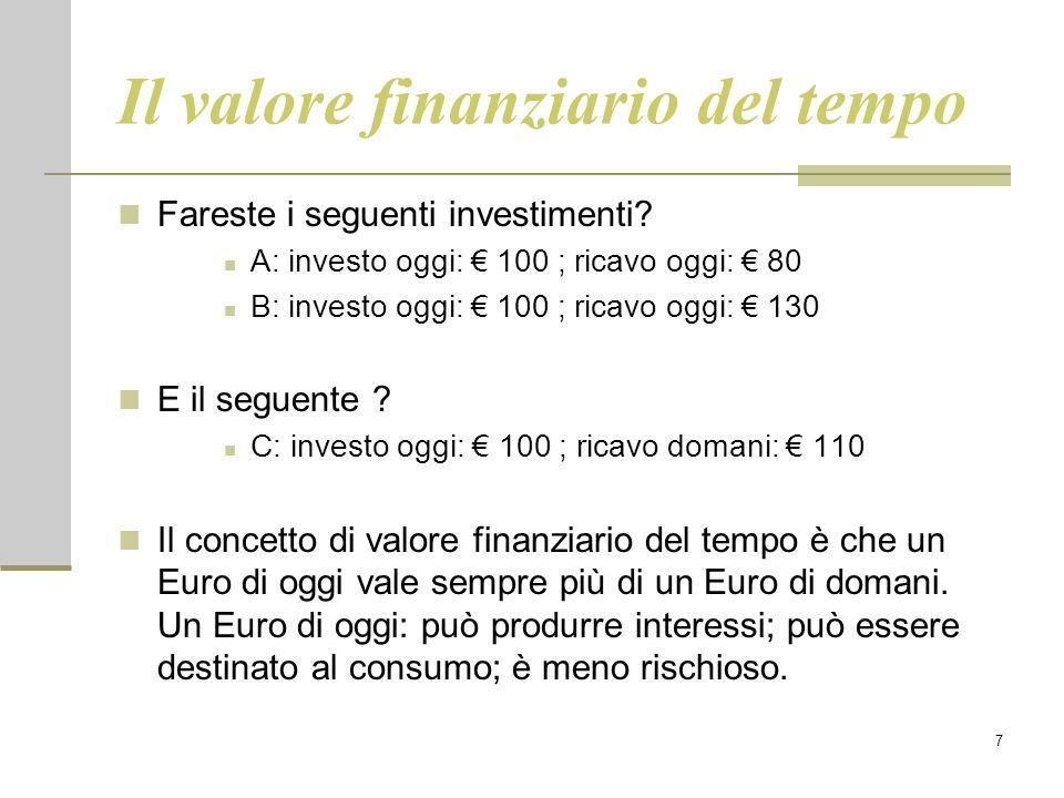 7 Il valore finanziario del tempo Fareste i seguenti investimenti? A: investo oggi: € 100 ; ricavo oggi: € 80 B: investo oggi: € 100 ; ricavo oggi: €