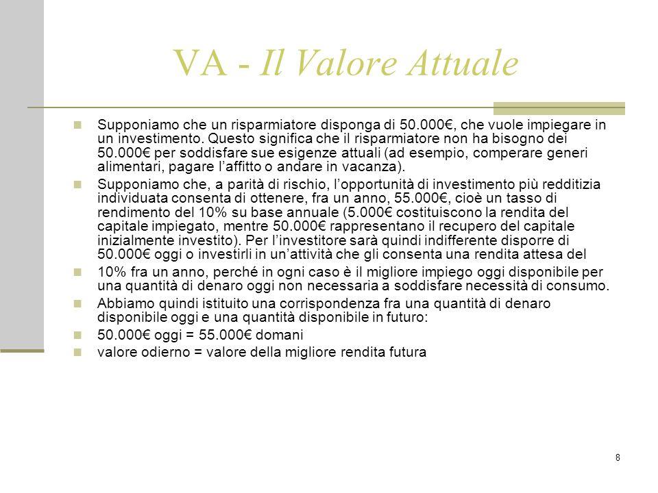 8 VA - Il Valore Attuale Supponiamo che un risparmiatore disponga di 50.000€, che vuole impiegare in un investimento. Questo significa che il risparmi