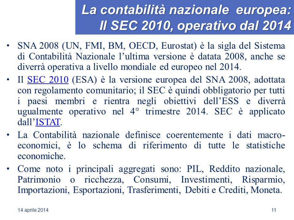 La contabilità nazionale europea: Il SEC 2010, operativo dal 2014 SNA 2008 (UN, FMI, BM, OECD, Eurostat) è la sigla del Sistema di Contabilità Nazionale l'ultima versione è datata 2008, anche se diverrà operativa a livello mondiale ed europeo nel 2014.