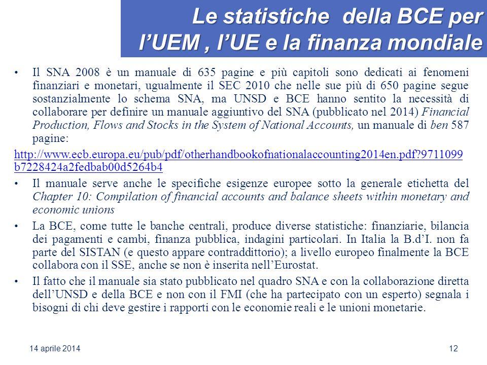Le statistiche della BCE per l'UEM, l'UE e la finanza mondiale Il SNA 2008 è un manuale di 635 pagine e più capitoli sono dedicati ai fenomeni finanziari e monetari, ugualmente il SEC 2010 che nelle sue più di 650 pagine segue sostanzialmente lo schema SNA, ma UNSD e BCE hanno sentito la necessità di collaborare per definire un manuale aggiuntivo del SNA (pubblicato nel 2014) Financial Production, Flows and Stocks in the System of National Accounts, un manuale di ben 587 pagine: http://www.ecb.europa.eu/pub/pdf/otherhandbookofnationalaccounting2014en.pdf 9711099 b7228424a2fedbab00d5264b4 Il manuale serve anche le specifiche esigenze europee sotto la generale etichetta del Chapter 10: Compilation of financial accounts and balance sheets within monetary and economic unions La BCE, come tutte le banche centrali, produce diverse statistiche: finanziarie, bilancia dei pagamenti e cambi, finanza pubblica, indagini particolari.
