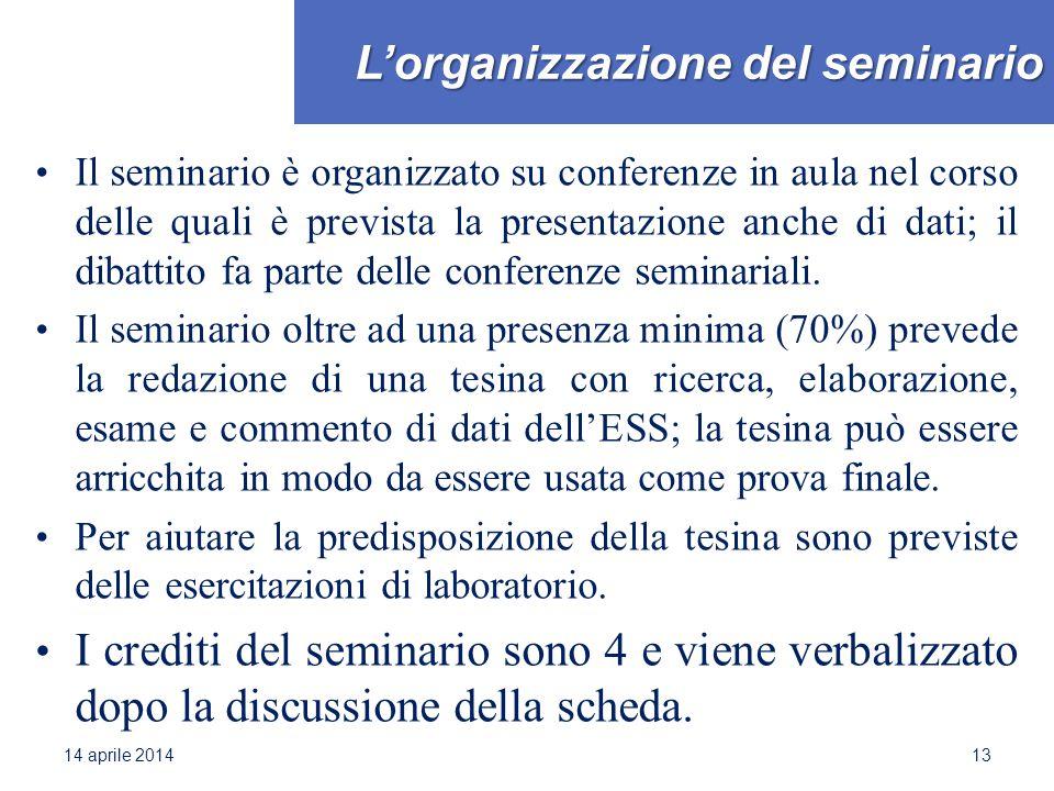 L'organizzazione del seminario Il seminario è organizzato su conferenze in aula nel corso delle quali è prevista la presentazione anche di dati; il di