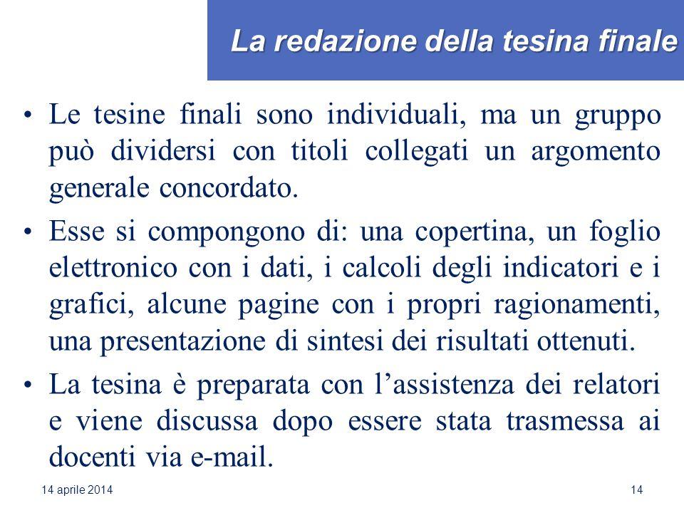 La redazione della tesina finale Le tesine finali sono individuali, ma un gruppo può dividersi con titoli collegati un argomento generale concordato.