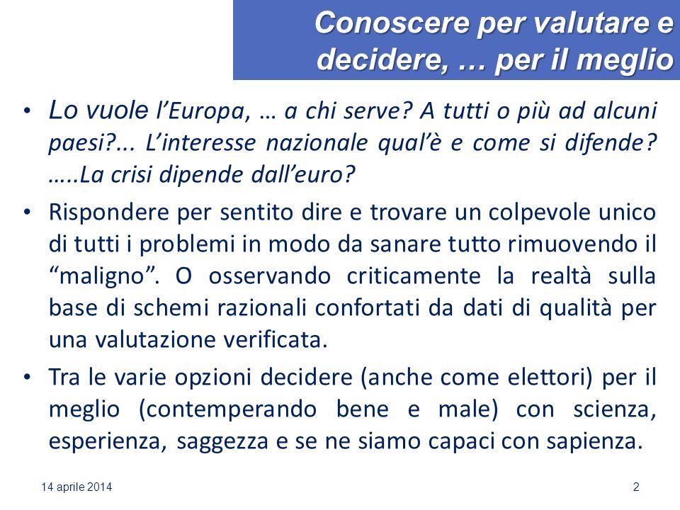 Conoscere per valutare e decidere, … per il meglio Lo vuole l'Europa, … a chi serve? A tutti o più ad alcuni paesi?... L'interesse nazionale qual'è e