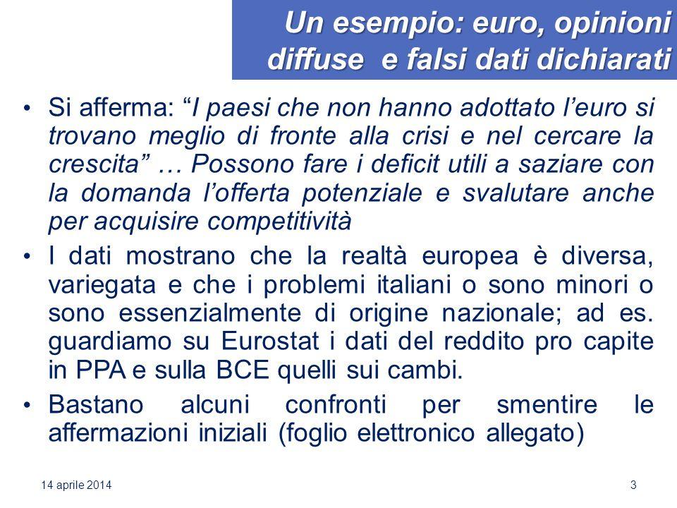"""Un esempio: euro, opinioni diffuse e falsi dati dichiarati Si afferma: """"I paesi che non hanno adottato l'euro si trovano meglio di fronte alla crisi e"""