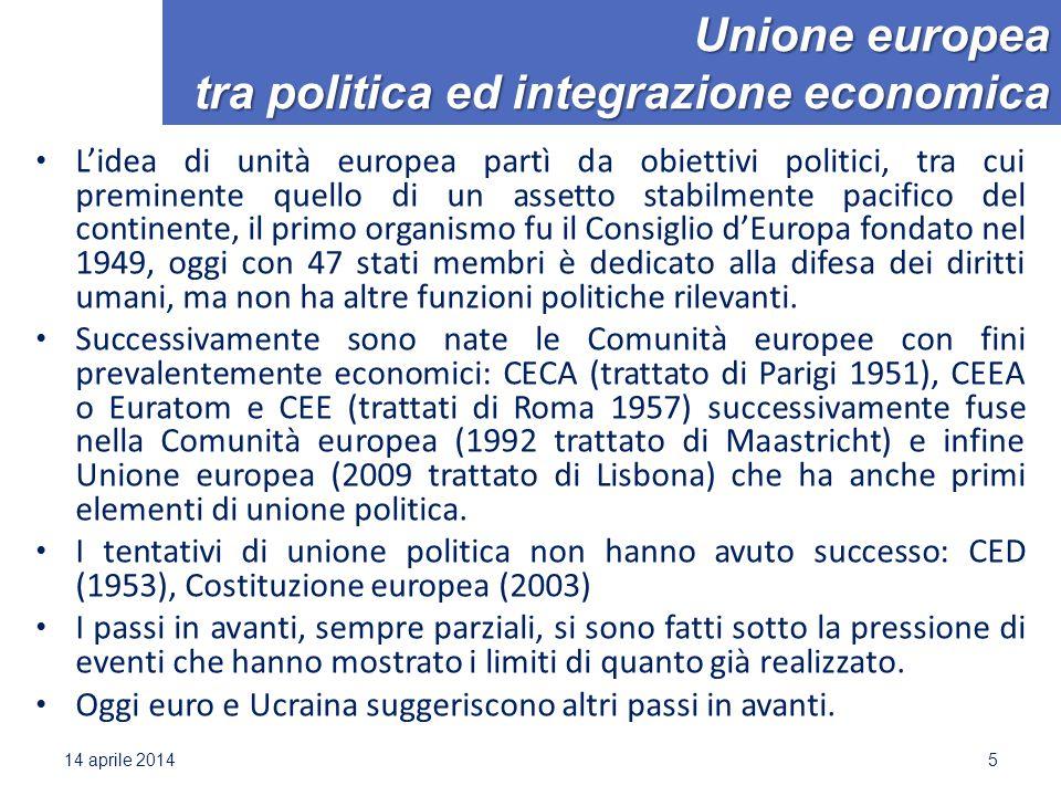 Unione europea tra politica ed integrazione economica L'idea di unità europea partì da obiettivi politici, tra cui preminente quello di un assetto sta