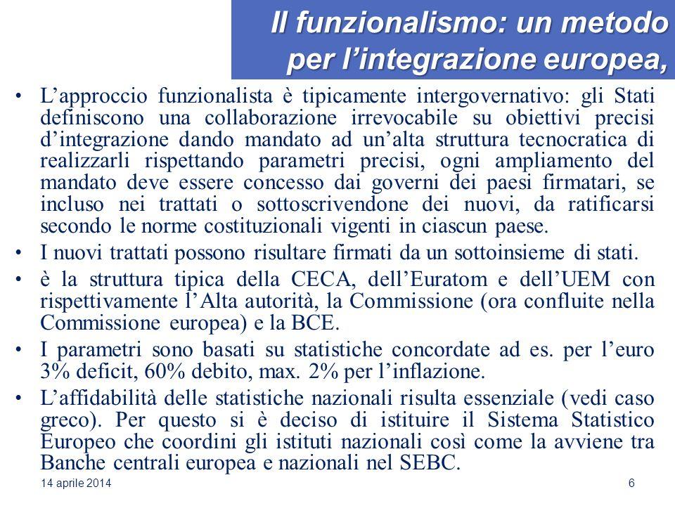Il funzionalismo: un metodo per l'integrazione europea, L'approccio funzionalista è tipicamente intergovernativo: gli Stati definiscono una collaboraz