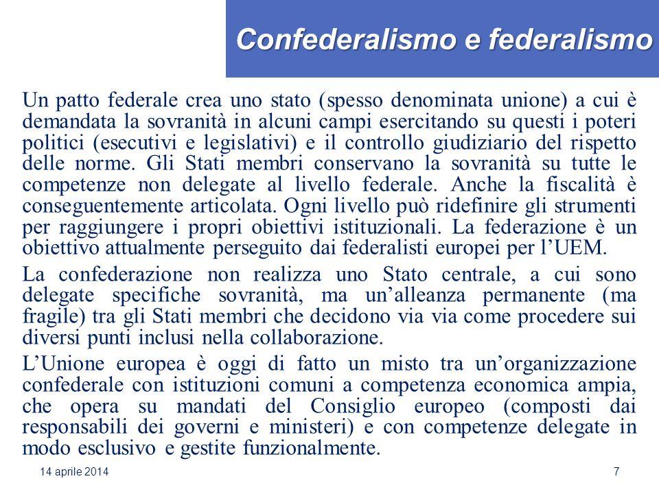 Confederalismo e federalismo Un patto federale crea uno stato (spesso denominata unione) a cui è demandata la sovranità in alcuni campi esercitando su