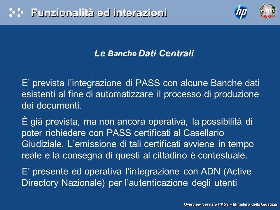 Le Banche Dati Centrali E' prevista l'integrazione di PASS con alcune Banche dati esistenti al fine di automatizzare il processo di produzione dei doc