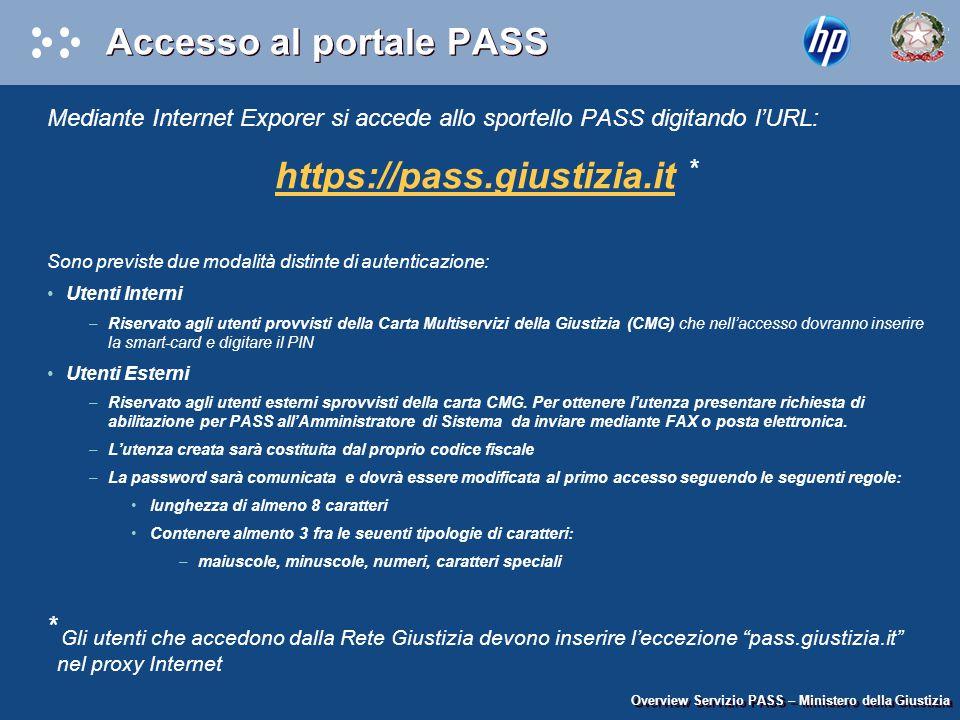 Accesso al portale PASS Mediante Internet Exporer si accede allo sportello PASS digitando l'URL: https://pass.giustizia.ithttps://pass.giustizia.it *