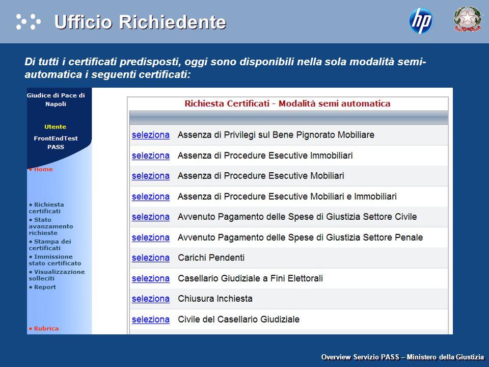 Overview Servizio PASS – Ministero della Giustizia Di tutti i certificati predisposti, oggi sono disponibili nella sola modalità semi- automatica i se