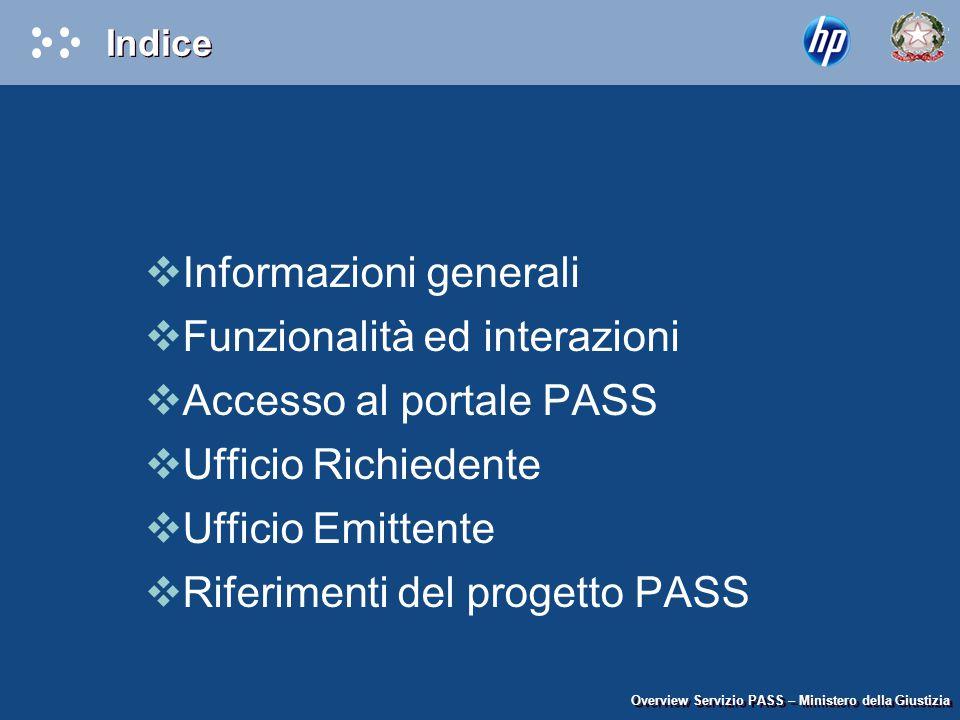 Indice  Informazioni generali  Funzionalità ed interazioni  Accesso al portale PASS  Ufficio Richiedente  Ufficio Emittente  Riferimenti del pro
