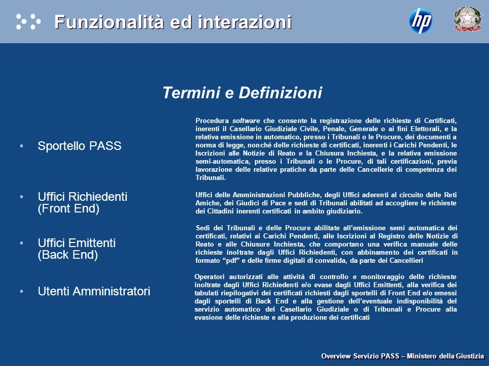 Funzionalità ed interazioni Termini e Definizioni Sportello PASS Uffici Richiedenti (Front End) Uffici Emittenti (Back End) Utenti Amministratori Over