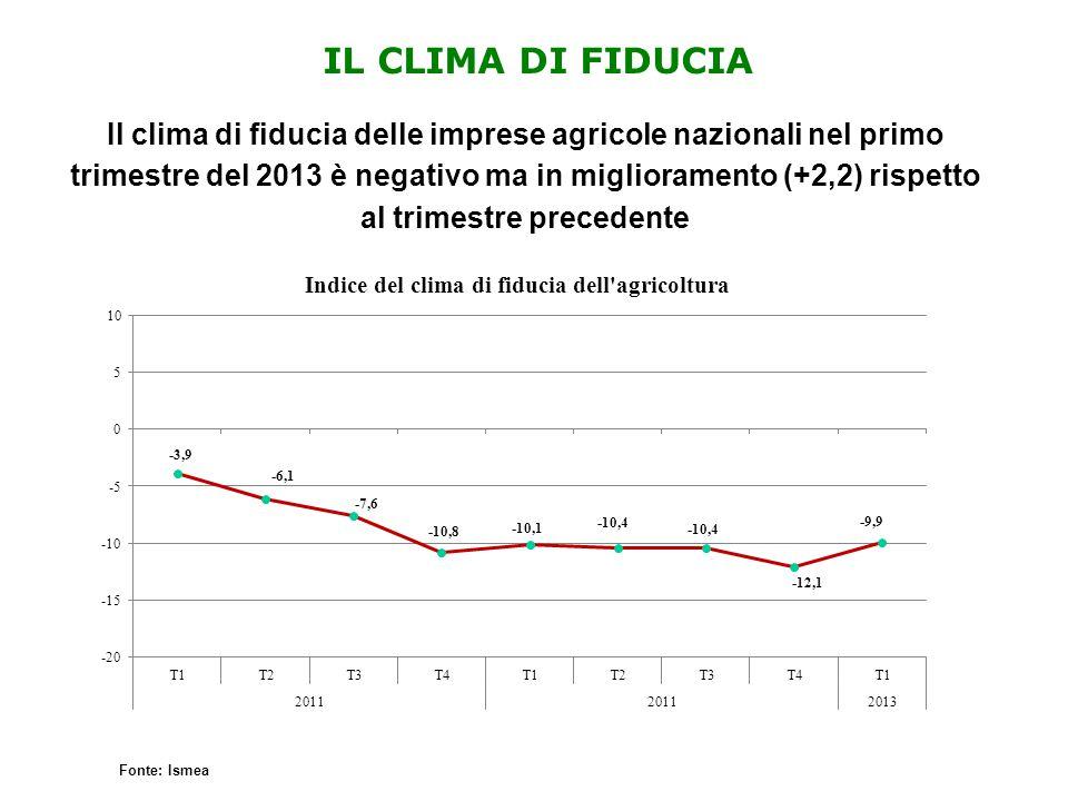IL CLIMA DI FIDUCIA Il clima di fiducia delle imprese agricole nazionali nel primo trimestre del 2013 è negativo ma in miglioramento (+2,2) rispetto a