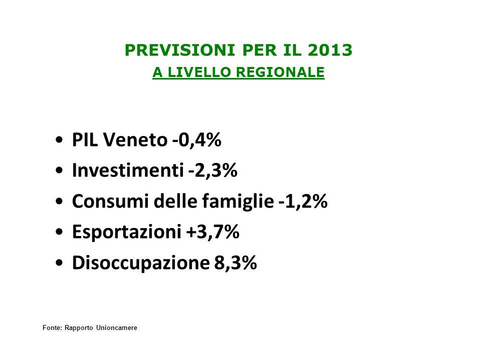 PREVISIONI PER IL 2013 A LIVELLO REGIONALE PIL Veneto -0,4% Investimenti -2,3% Consumi delle famiglie -1,2% Esportazioni +3,7% Disoccupazione 8,3% Fonte: Rapporto Unioncamere